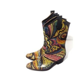 Corkys Rain Boot Cowgirl Wester Rodeo Brown Yellow